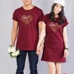 เสื้อคู่ เสื้อคู่รัก ชุดคู่รัก เสื้อคู่รักเกาหลี เสื้อคู่แฟชั่น ลาย HEARTหัวใจ หลากภาษา ADX008