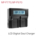 Battery Charger Dual Digital LCD For NP-F770, F970, QM71, QM91