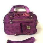 กระเป๋าถือ+สะพาย ผ้าทอ Lingky สีม่วง