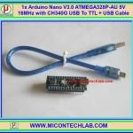 1x Arduino Nano V3.0 ATMEGA328P-AU 5V 16MHz CH340G USB Cable