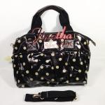 กระเป๋า Chalita wu + สายสะพาย สีดำ ลายจุด