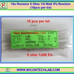 10x Resistor 0 Ohm 1/4 Watt 5% Resistor (10pcs per lot)