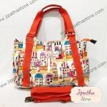 กระเป๋าถือ Chalita wu + สายาะพาย สีขาว ลายแฟชั่น