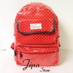 กระเป๋าเป้ Chalita wu สีแดง ลายจุด