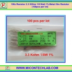 100x Resistor 3.3 Kohm 1/8 Watt 1% Metal film Resistor (100pcs per lot)