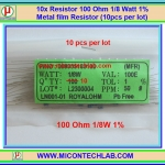 10x Resistor 100 Ohm 1/8 Watt 1% Metal film Resistor (10pcs per lot)
