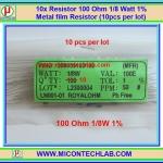 10x Resistor 100 Ohm 1/8 Watt 1% Metal film Resistor (10pcs per lot)