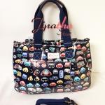 กระเป๋า Chalita wu + สายสะพาย ทรงกระโปรงใบใหญ่ สีกรม ลายรถยนต์