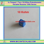 1x Trimpot 10 KOhm 1 Turn Potentiometer Variable Resistor 3362 Series