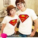 เสื้อคู่รัก ชุดคู่รัก เสื้อคู่ เสื้อยืดคู่รักผ้าฝ้าย สกรีนลาย SUPER MAN มีสีขาว ม่วง ดำ