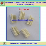 5x WAFER CONNECTOR 8 PINS RIGHT ANGLE TYPE 2.54mm (5pcs per lot)