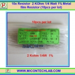 10x Resistor 2 KOhm 1/4 Watt 1% Metal film Resistor (10pcs per lot)