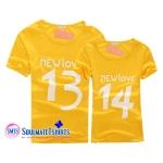 เสื้อคู่รัก ลายนิวเลิฟสีเหลืองน่ารัก พร้อมส่ง