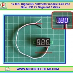 1x Mini Digital DC Voltmeter module 0-32 Vdc Blue LED 7's Segment 3 Wires