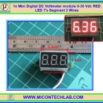 1x Mini Digital DC Voltmeter module 0-30 Vdc RED LED 7's Segment 3 Wires