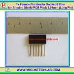 1x Female Pin Header Socket 6 Pins for Arduino Shield PCB Pitch 2.54mm (Long Pin)
