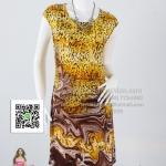 pd2627 - เดรสสั้นแขนล้ำ ผ้าเกาหลีพิมพ์ลายเสือโทนเหลือง ซับในแยกชิ้น สวยน่ารักค่ะ