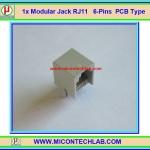 1x Modular Jack RJ11 6-Pins PCB Type