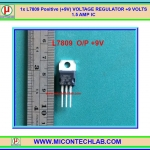 1x L7809 Positive (+9V) VOLTAGE REGULATOR L7809CV +9 VOLTS 1.5 AMP IC
