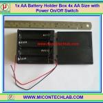 1x AA Battery Holder Box 4x AA Size with Power On/Off Switch (กล่องถ่านแบบมีฝาปิดขนาด 4 ก้อนพร้อมสวิตซ์เปิดปิด)