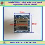 1x WTV020M01 U-disk audio voice sound player Micro SD Card module