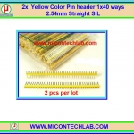 2x Yellow Color Pin header 1x40 ways 2.54mm Straight SIL