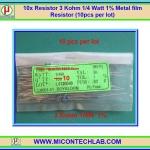 10x Resistor 3 Kohm 1/4 Watt 1% Metal film Resistor (10pcs per lot)