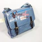 กระเป๋าสะพาย Chalita wu สองเข็มขัด สีฟ้า ลายจุดเล็ก
