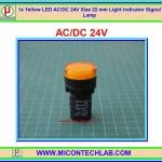1x Yellow LED AC/DC 24V Size 22 mm Light Indicator Signal Lamp