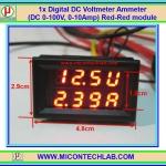 1x Digital DC Voltmeter Ammeter (DC 0-100V, 0-10Amp) module