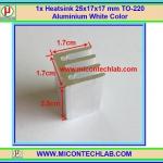 1x Heatsink 17x17x25 mm TO-220 Aluminium White Color