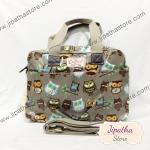 กระเป๋า Chalita wu + สะพาย ใบใหญ่ สีเทา ลายนกฮูก