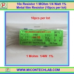 10x Resistor 1 MOhm 1/4 Watt 1% Metal film Resistor (10pcs per lot)