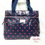 กระเป๋า 5 ซิปใบใหญ่ Chalita wu สีกรม ลายจุด