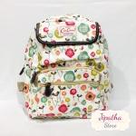 กระเป๋าเป้ Chalita wu สีขาว ลายดอกไม้หลากสี