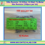 100x Resistor 10 Kohm 1/4 Watt 1% Metal film Resistor (100pcs per lot)