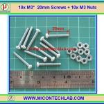 10x M3* 20mm Screws + 10x M3 Nuts (สกรูหัวกลม+น็อตตัวเมีย ขนาด 3มม ยาว 20มม)