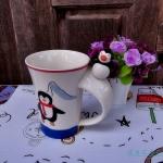 แก้วมัคเซรามิคปากแตร รูปเพนกวินท้าลมหนาว