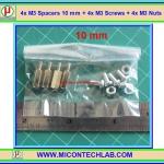 4x M3 Spacers 10 mm + 4x M3 Screws + 4x M3 Nuts (เสารองพีซีบีแบบปลายผู้เมีย 10 มม)