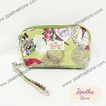 กระเป๋าคล้องมือ Chalita wu สีเขียว ลายดอกไม้
