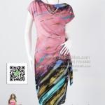 hd1860 - ชุดเดรส ผ้าเกาหลีแขนล้ำพิมพ์ลายโทนชมพู แต่งจีบช่วงเอวด้านข้างพร้อมผูกโบว์ สวยดูดีค่ะ ซํบในแยกชิ้นค่ะ