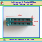 1x Universal IC Socket 28 Pins Width 7.62mm / 0.3 inch