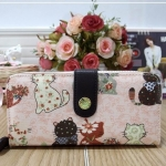 กระเป๋าสตางค์ Chalita wu สีชมพู ลายแมวคู่