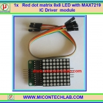 1x แผงวงจร Red Matrix 8x8 LED with MAX7219 IC Driver Module