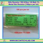 100x Resistor 150 Kohm 1/8 Watt 1% Metal film Resistor (100pcs per lot)