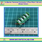 1x Barrier Terminal Connector 4 Pins Pitch 7.62 mm (Green Color)