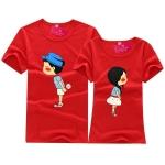 เสื้อคู่รัก ลายชายหญิงจูจุ๊ปสีแดง น่ารัก พร้อมส่ง