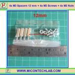 4x M3 Spacers 12 mm + 4x M3 Screws + 4x M3 Nuts (เสารองพีซีบีแบบปลายผู้เมีย 12 มม)