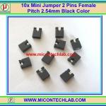 10x Mini Jumper 2 Pins Female Pitch 2.54mm Black Color