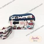 กระเป๋าคล้องมือ+ สะพาย 3 ช่องใบเล็ก สีขาว ลายลอนดอน